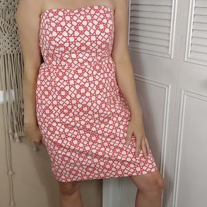 Annie Griffin strapless pink and white print dress